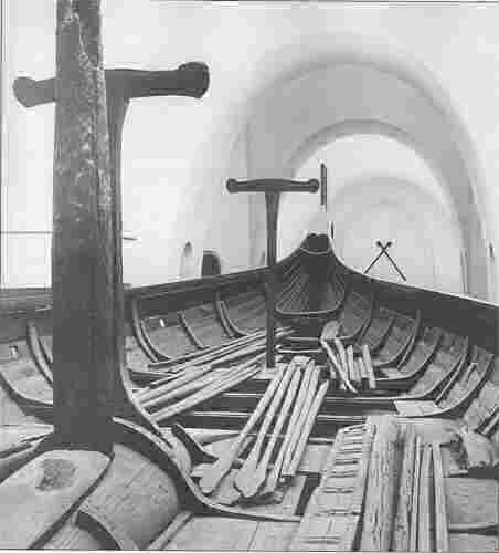 Interior View of 9th Century Viking Ship Gokstad